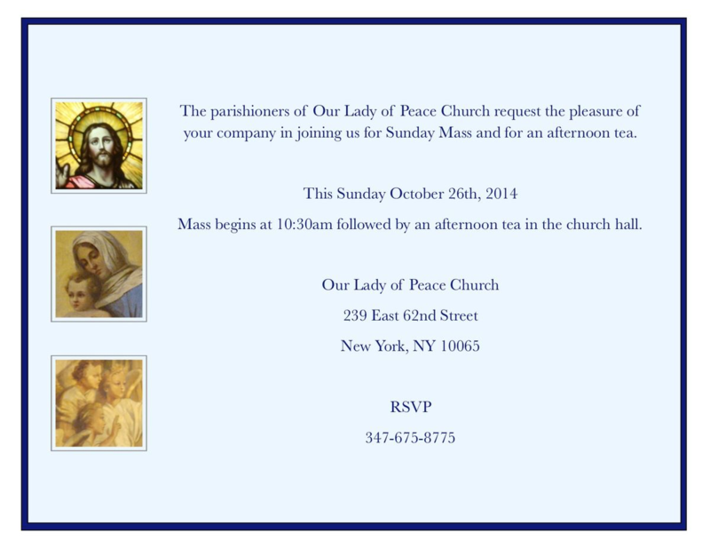 Our Lady of Peace Mass & Afternoon Tea Invite