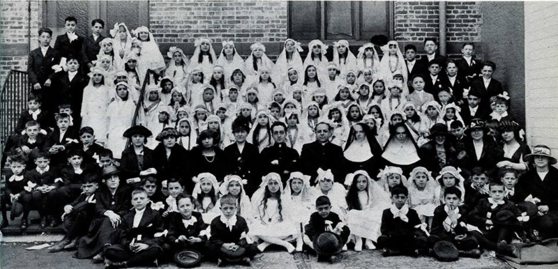 OLP 1st Communion 1920, Fr. Leone (left of 2 nuns)