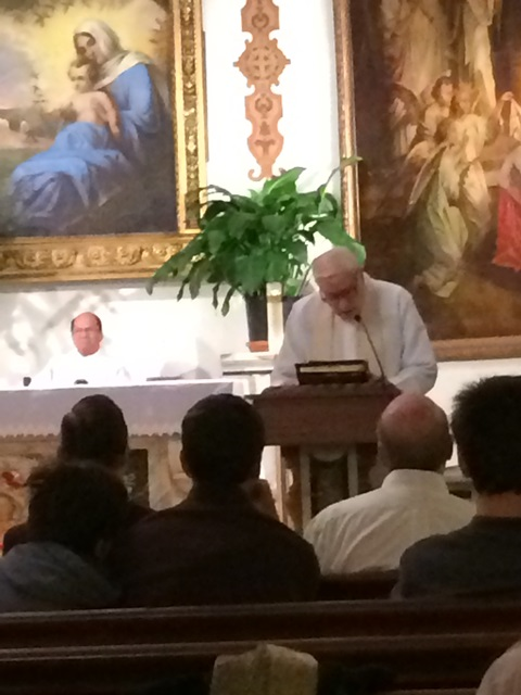 Fr Daly reads the letter
